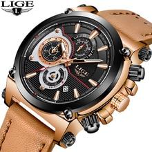 LIGE Brand Men Watch Leather Strap LIGE9854