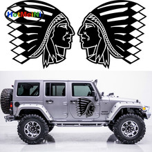 HotMeiNi 2x American Indian Tribes Avatar Graphic Theme Car Stickers Car Styling Personalise Hand Carving Decoration Vinyl Decal(China)