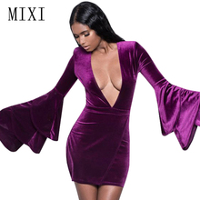 MIXI Purple Blue Black Velvet Dress Plus Size Women Flare Long Sleeve Deep V Neck Sexy Bodycon Elegant Short Party Dresses