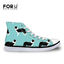 FORUDESIGNS Basketball Shoes Children's Sneakers Cute Border Collie Dog Printing Football Boots Kids Boys High Top Canvas Shoes