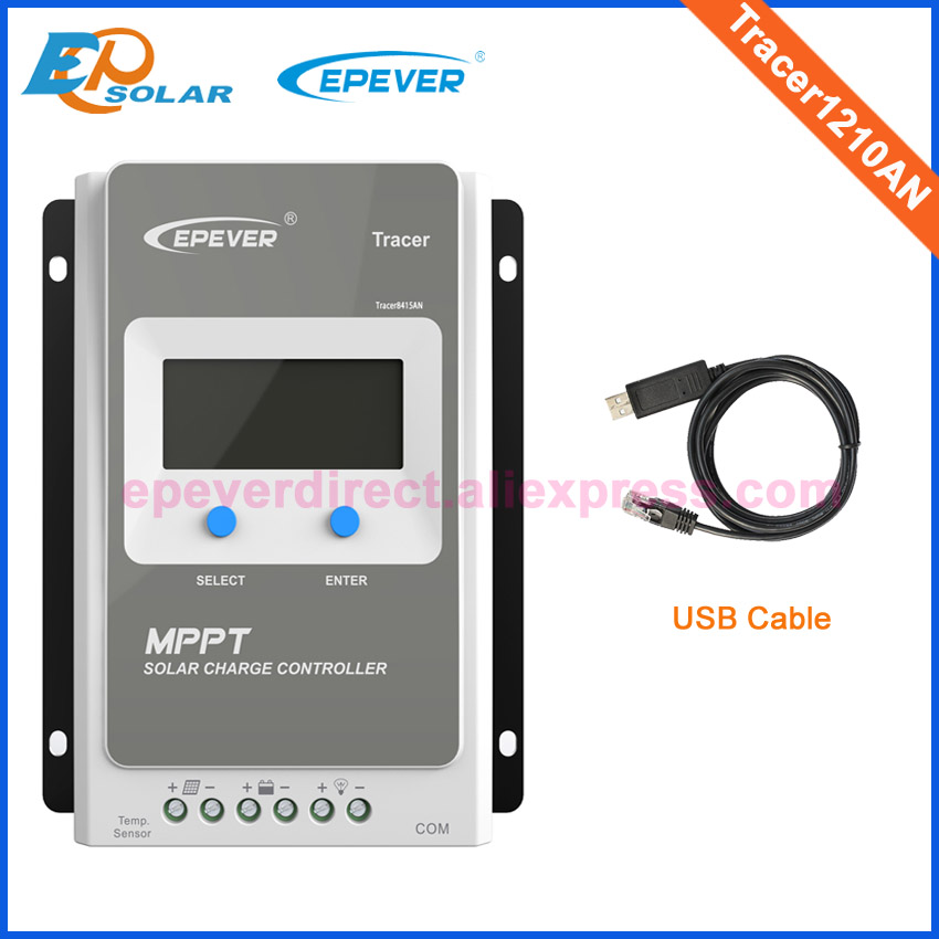 Tracer1210AN with USB cable PC connect MPPT solar panels controller 10A 12V 130W 24V 260W solar panels apply mppt solar charging regulator tracer4215bn 40a 40amp wifi connect usb cable connect pc and mt50 remote meter 12v 24v
