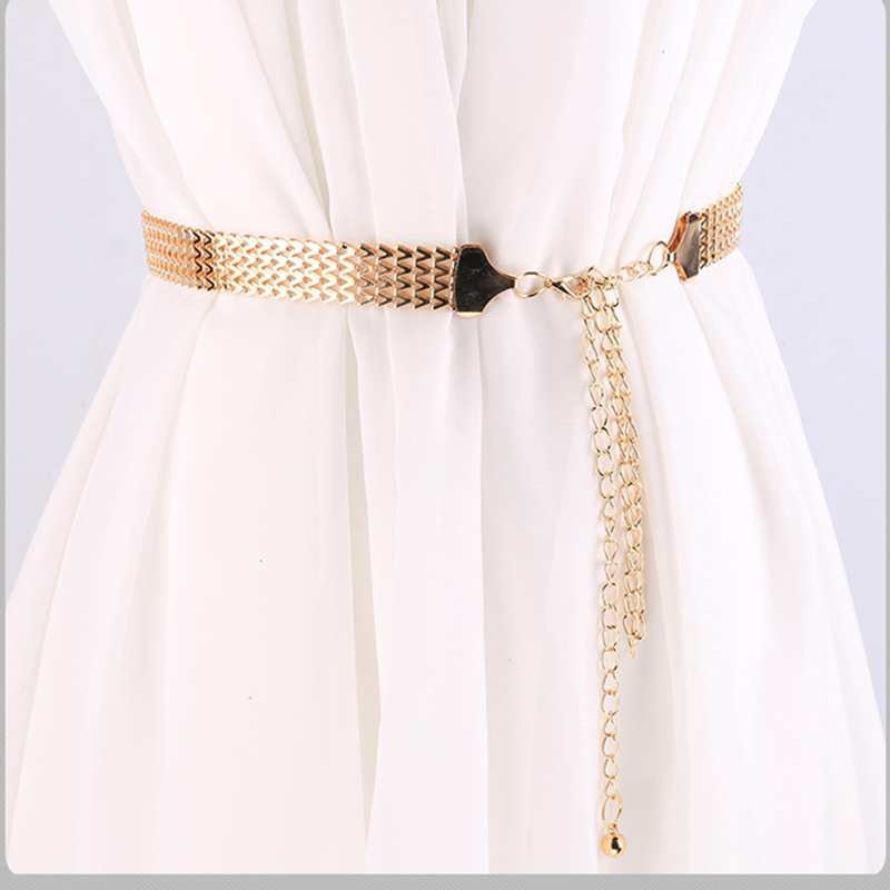 Long 110cm Female   Belt   Big wave pattern   Belts   for Women Fashion Dress Wide Chain   Belt   Golden Waistband Accessories