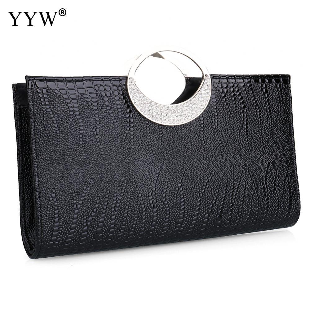Fashion 2018 PU Leather Lady Clutch Bag Red Chic Rhinestone Handbags Silver Gold Elegant Women'S Crossbody Bags Borse Da Donna