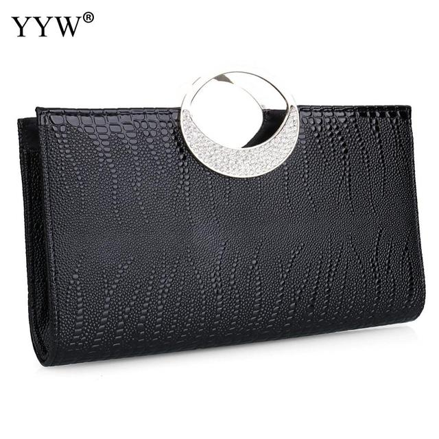Lady Clutch Bag Red Chic Rhinestone Handbags Silver Gold Elegant Women'S Crossbody Bags PU Leather