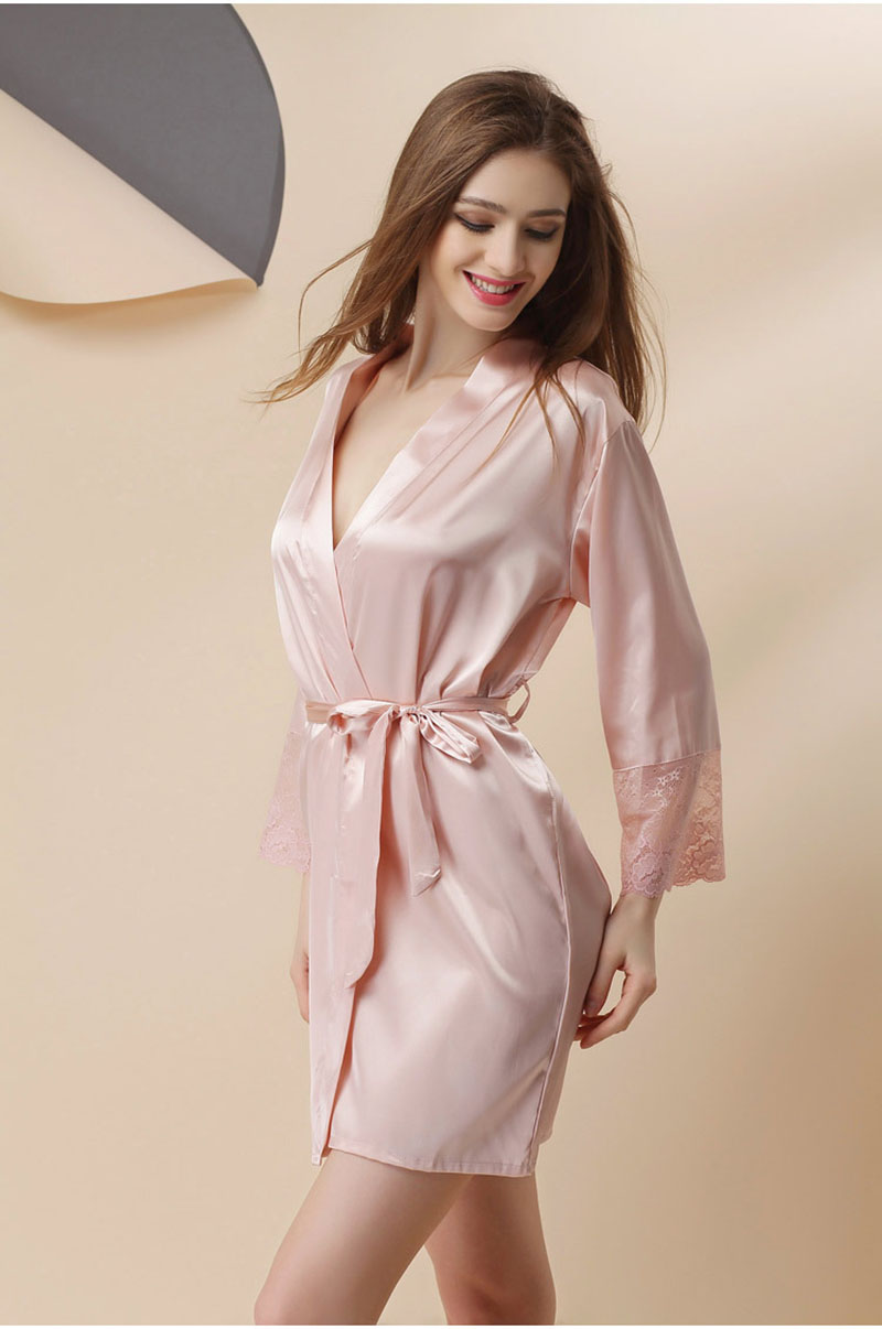 5376181fd1 M L XL 2017 Women Bathrobes Japanese Yukata Kimono Satin Silk Vintage Robe  Sleepwear Sexy Lingerie Pajamas 4 Colors Nightgowns-in Robes from Underwear  ...