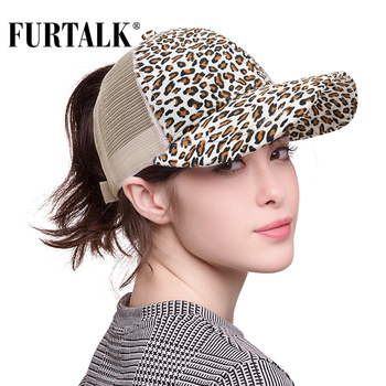 FURTALK  Leopard Ponytail Baseball Cap Women Messy Bun Baseball Hat Cotton Mesh Snapback Dad Hat 1