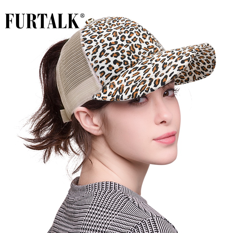 FURTALK Dropshipping Leopard Ponytail   Baseball     Cap   Women Messy Bun   Baseball   Hat Snapback