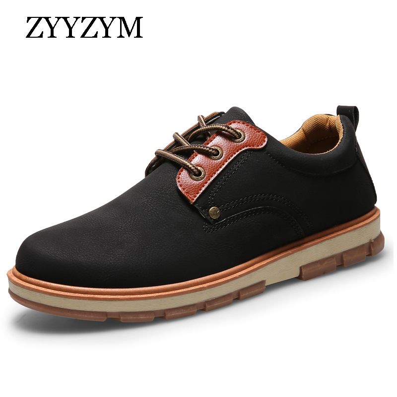 Men Pu Leather Casual Shoes Spring Autumn Lace-up Style Flat Fashion Trend Big head Man Work Shoe 2017 Hot Sale aives british style pu leather shoes men s casual flat office soft driving shoes fashion trend lace up men shoes classic loafers