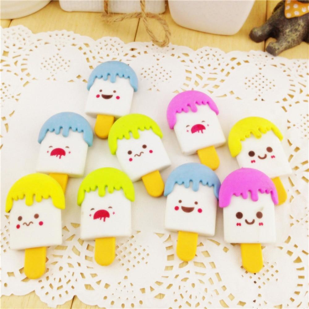 5Pcs/set Kawaii High Quality Kawaii Eraser Ice Cream Eraser Smile Face Erasers Rubber For Pencil Kid Supplies