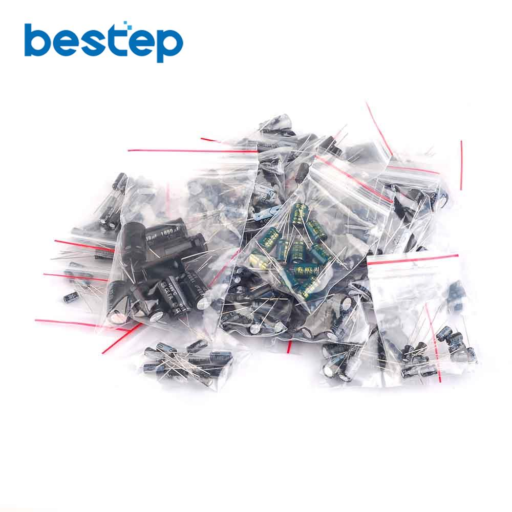 1uF~2200uF 25 value 250pcs Electrolytic Capacitors Assortment Kit Assorted Set