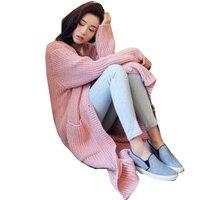 Korean Women Loose Autumn And Winter 2016 Elegant Long Sleeve Knee Length Cardigan Tops Sweater Mujer