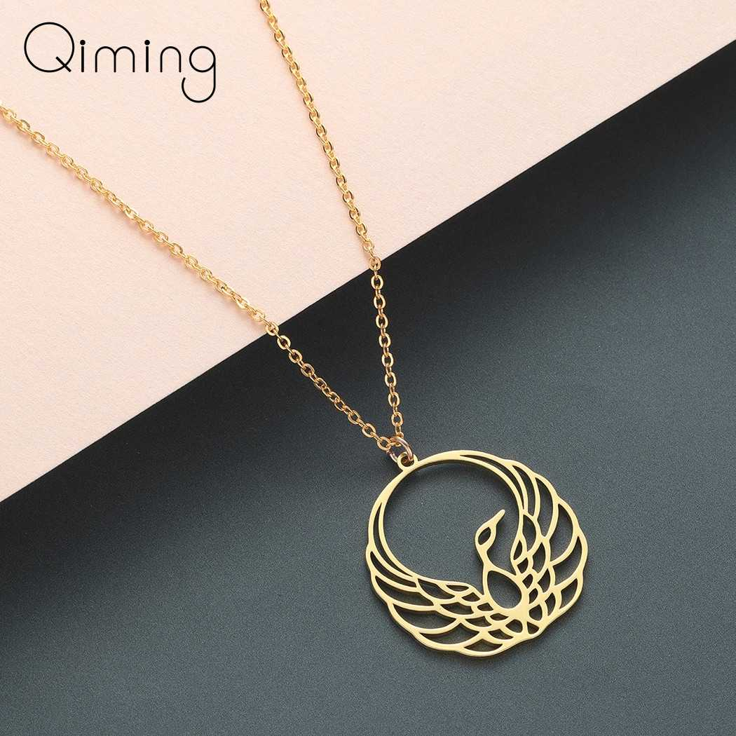 Ethnic Phoenix Necklace Laidies Female Golden Hollow Animal  Silver Gold Women's Necklace Collier Femme Inidan Jewelry