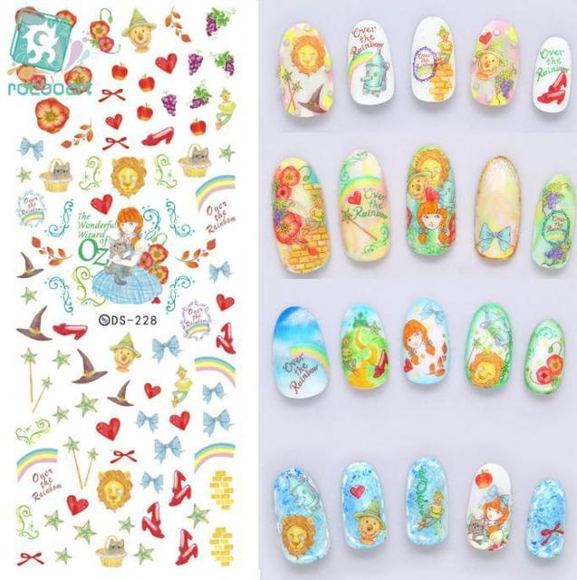 Rocooart DS228 Designer Product Water Transfer Nails Art Sticker Christmas Colored Wizard Nail Wraps Sticker Manicura stickers