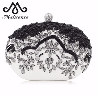 Milisente Oval Evening Clutch Bag Fashion Small Day Clutches Lady Wedding Purse Diamond White Party Bag