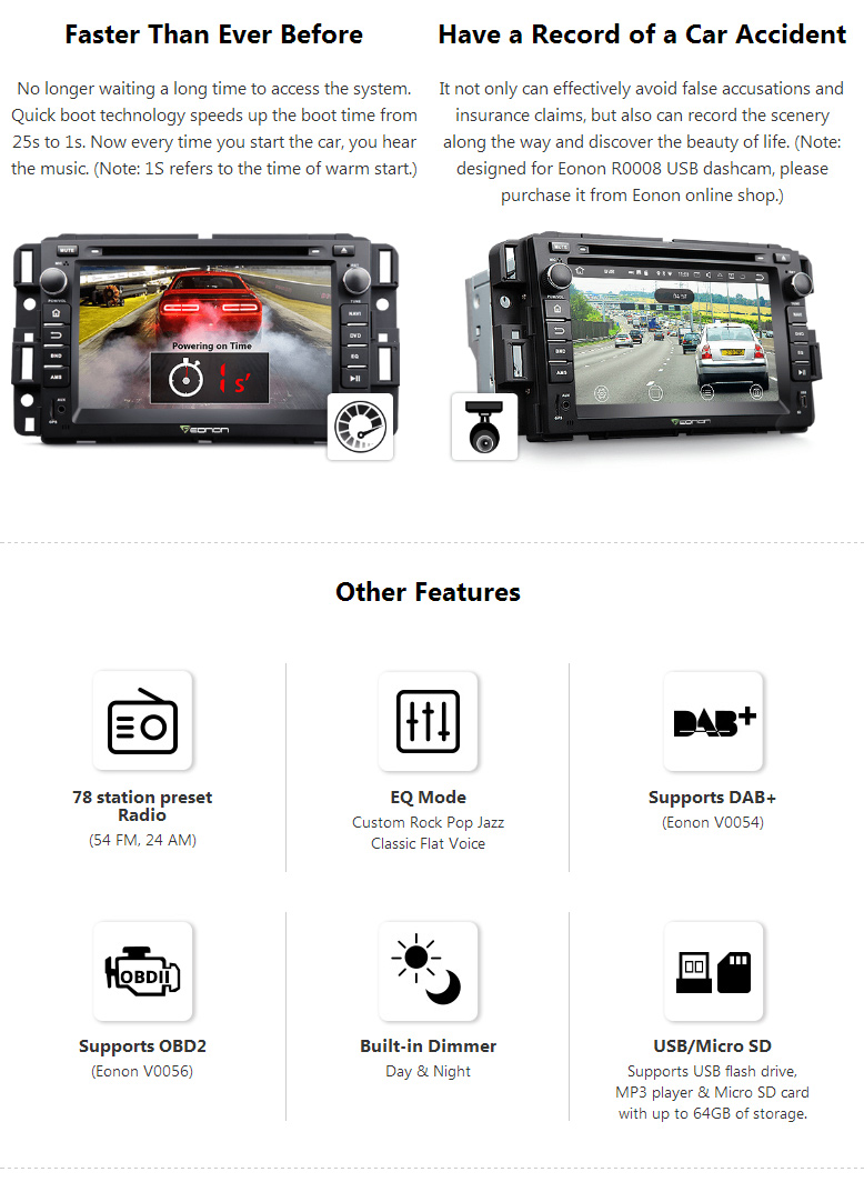OBDII Bluetooth 7″Android 7.1 Double Din Car DVD GPS Stereo Eonon 2GB For Chevrolet Avalanche Acadia Savana Sierra Yukon