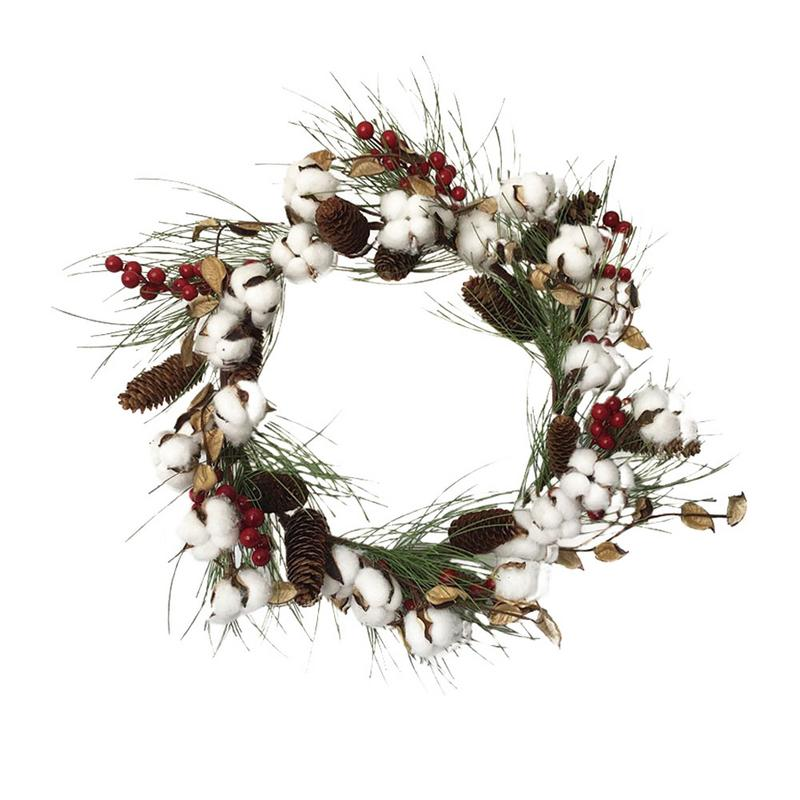 Emulation Dry Cotton Pine Cones Leafy Wreath Door Lintel Wreath Christmas Decoration Props Christmas Wall Decorations