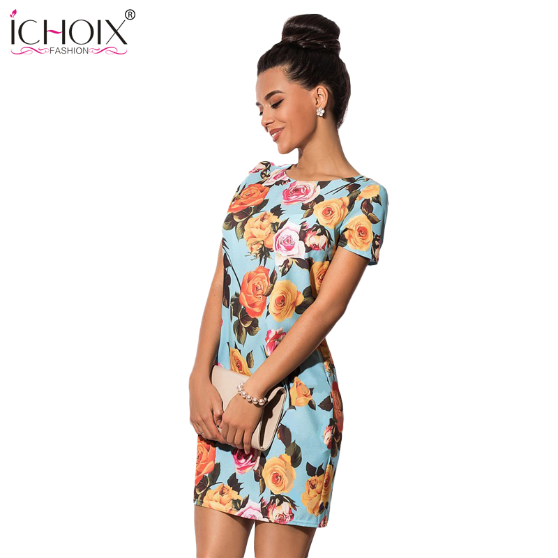 Elegant Floral Print Dress Casual Women Dresses Plus Sizes NEW 2019 Women Clothing Summer  O-neck Bodycon Short Dress Fashion