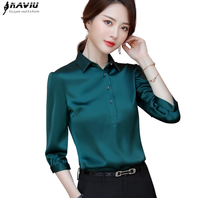 Naviu 2019 New Fashion High Quality Satin Shirt Women Tops and Blouses Office Lady Style Formal Shirt Plus Size Work Wear