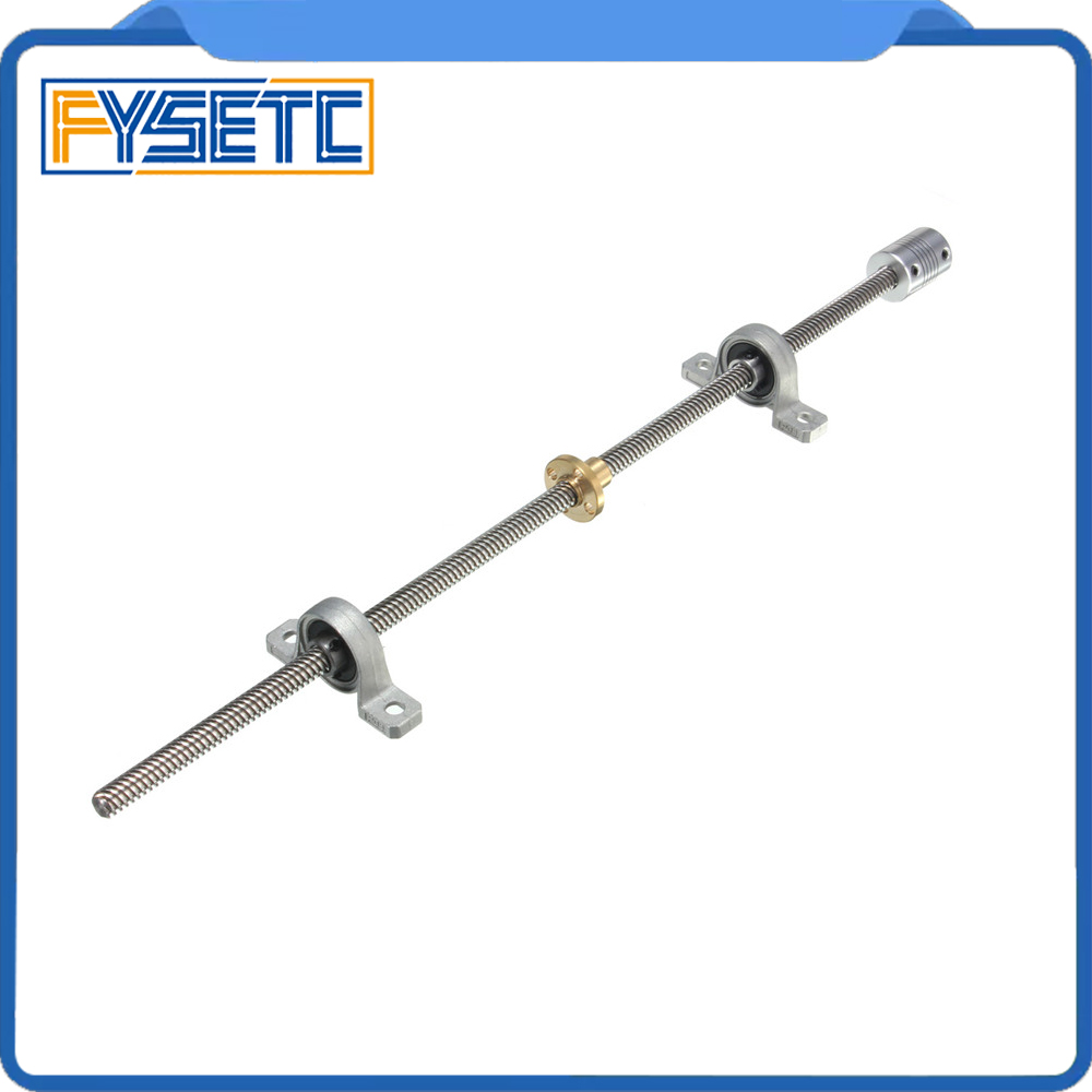 1 Set T8 Length 300/350/400/500mm Stainless Steel Trapezoidal Lead Screw+nut+Shaft Coupling+mounting support Dia 8MM Pitch 2mm 3d printer t8 500 stainless steel lead screw set with shaft coupling dia 8mm pitch 2mm lead 8mm length 500mm free shipping