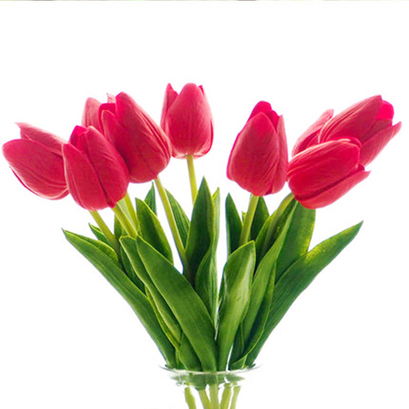 31PCS\/LOT pu mini tulip flower real touch wedding flower bouquet artificial silk flowers for