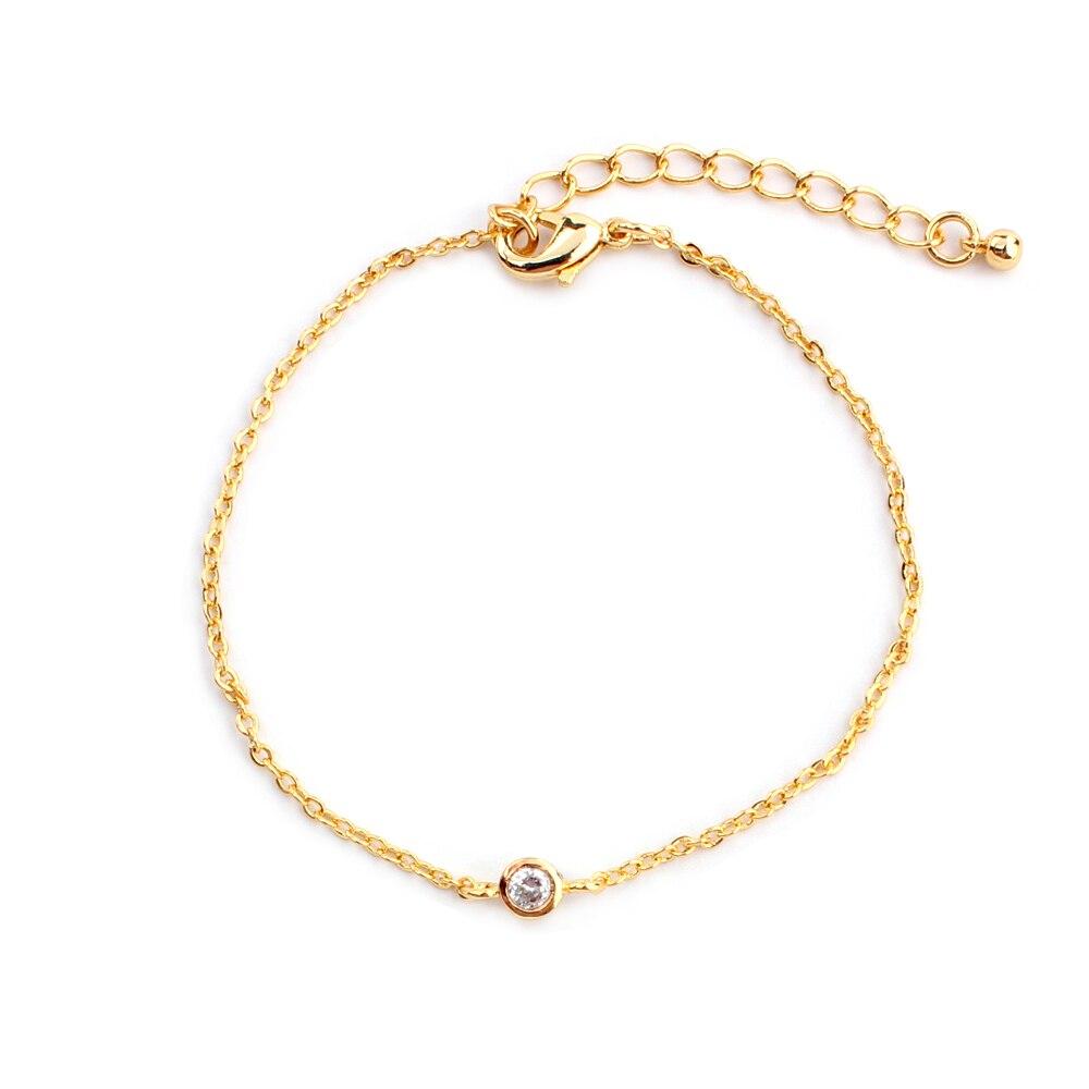 bcf6c21bef1b Nueva moda minimalista joyería pavimentación pequeño cubic zirconia pulsera  de Oro Femenina regalo Dama
