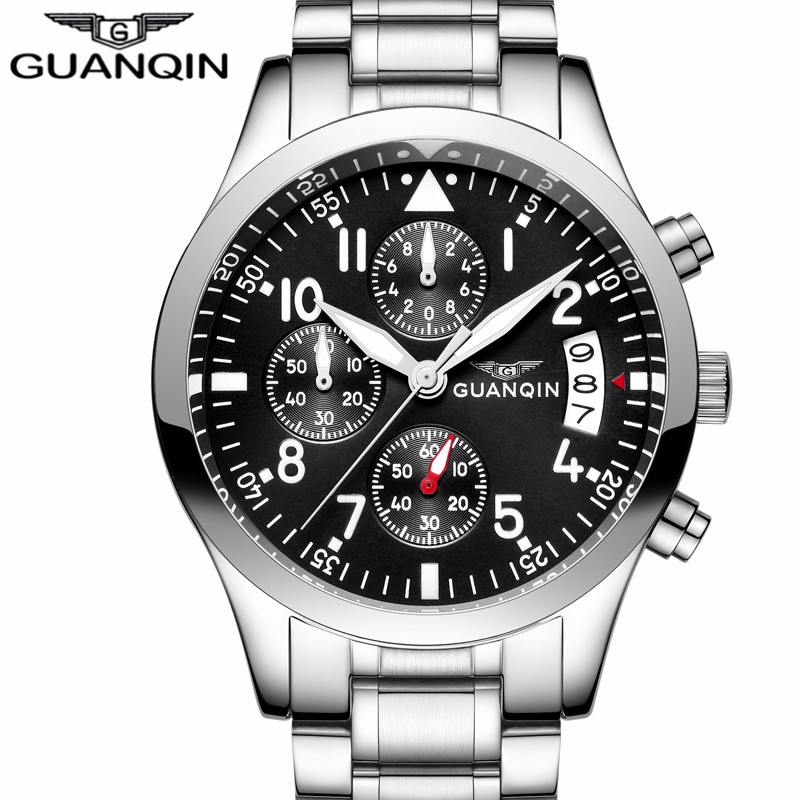 New GUANQIN Mens Watches Top Brand Luxury Man Business Quartz Watch Men Sport Stainless Steel Waterproof Clock relogio masculino cadisen top new mens watches top brand luxury complete calendar 3atm sport watches for men clock stainless steel horloges mannen