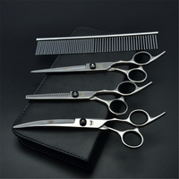 Suit 7 19 5cm Kasho Black Screw Pets Hair Shears Thinning Shears Cutting Scissors Dogs Flur