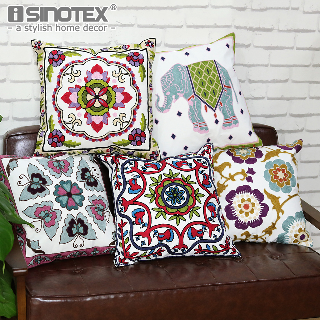 Ethnic Animal Flower Embroidered Cushion Covers Home Sofa Soft Cotton Pillowcases 18 Arts Crafts New Year Cushion Pillow Decor