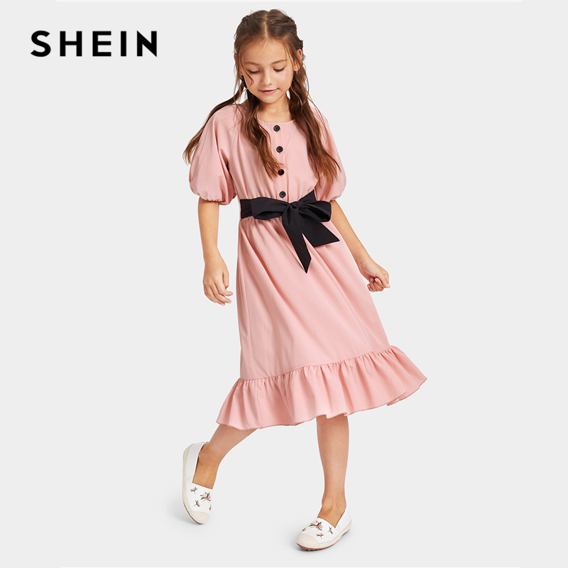 SHEIN Kiddie Pink Button Front Ruffle Hem Cute Dress With Belt Girls 2019 Summer Casual Half Sleeve A Line Flared Midi Dresses ruffle trim high split hem cami dress