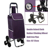 15%,Six Wheel Folding Climbing Cart Portable Shopping Cart Quality Steel Pull Rod Trolley With Double oxford cloth&Rubber wheel