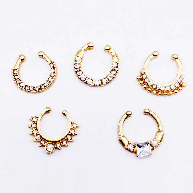 7b2a18805 ZOEBER white Crystal fake nose ring gold color round septum Piercing  clicker faux clip non Body