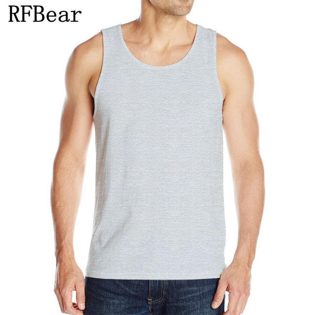 4600b23bd6 RFBear Brand Fashion Men's 95% Cotton O-Neck Tank Tops Summer Male  Sleeveless Vest Casual Printin Solid color high elastic