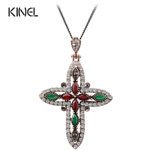 Luxury Cross Pendant Necklace Vintage Jewelry For Women Antique Gold Color Religious Accessories Best Gift