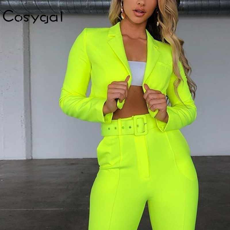 COSYGAL 2019 Autumn Jacket+pants 2 Piece Set Women Set Neon Sexy Night Club Outfits Ladies Fashion Slim Two Piece Set With Belt