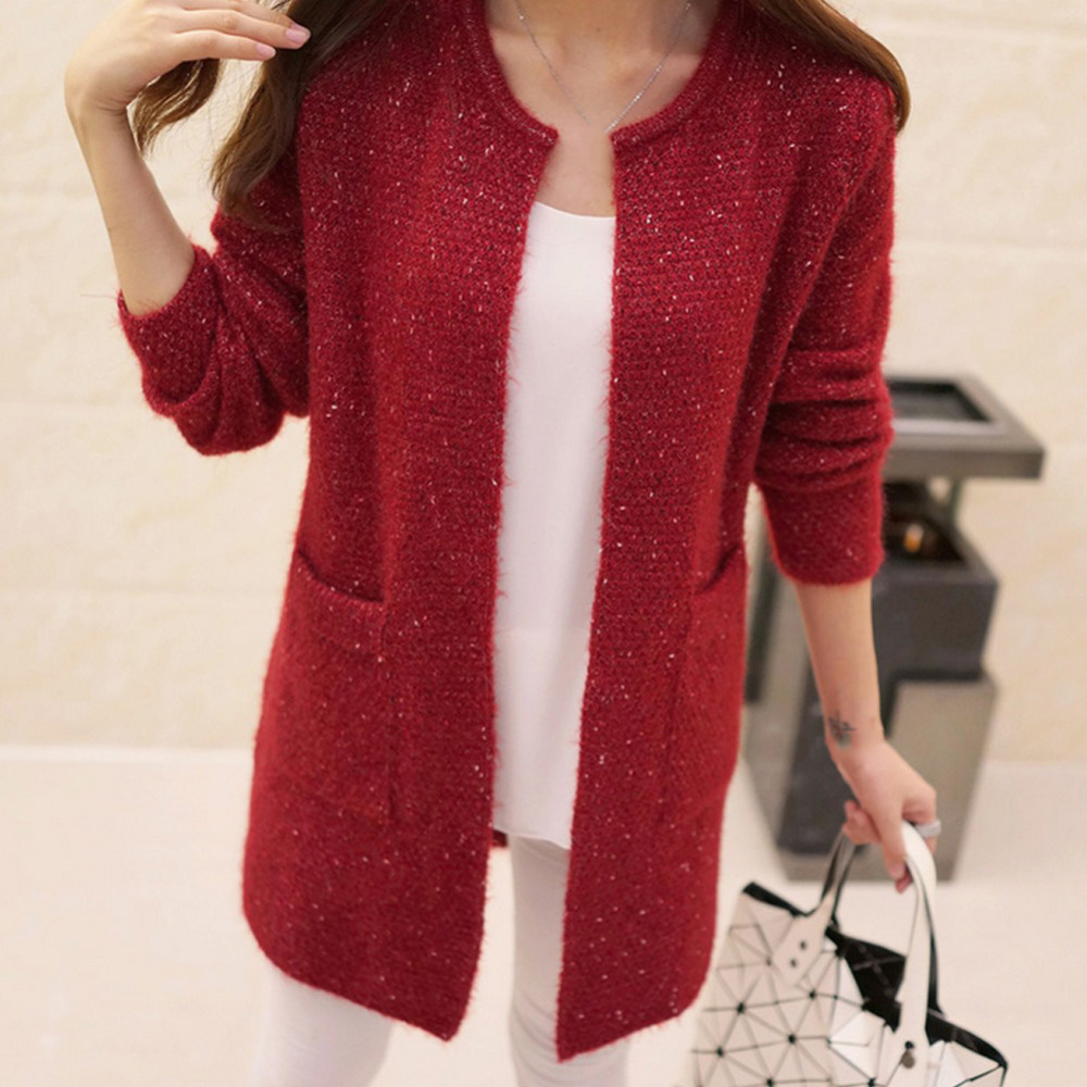 2773d04b7a3e7 New Spring Winter Women Casual Long Sleeve Knitted Cardigans 2016 Autumn  Crochet Ladies Sweaters Fashion Tricotado Cardigan