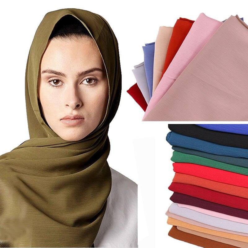 LMLAVEN Women Wrinkle Chiffon Crinkle Hijab Scarf Muslim Shawl Solid Color Scarves High Quality Wraps Plain Headband 25 Color
