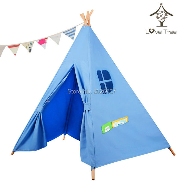 Love Tree Teepee Tent-Classical Blue Five Poles One Window- Kids Teepee Tent Toy  sc 1 st  AliExpress.com & Love Tree Teepee Tent Classical Blue Five Poles One Window Kids ...