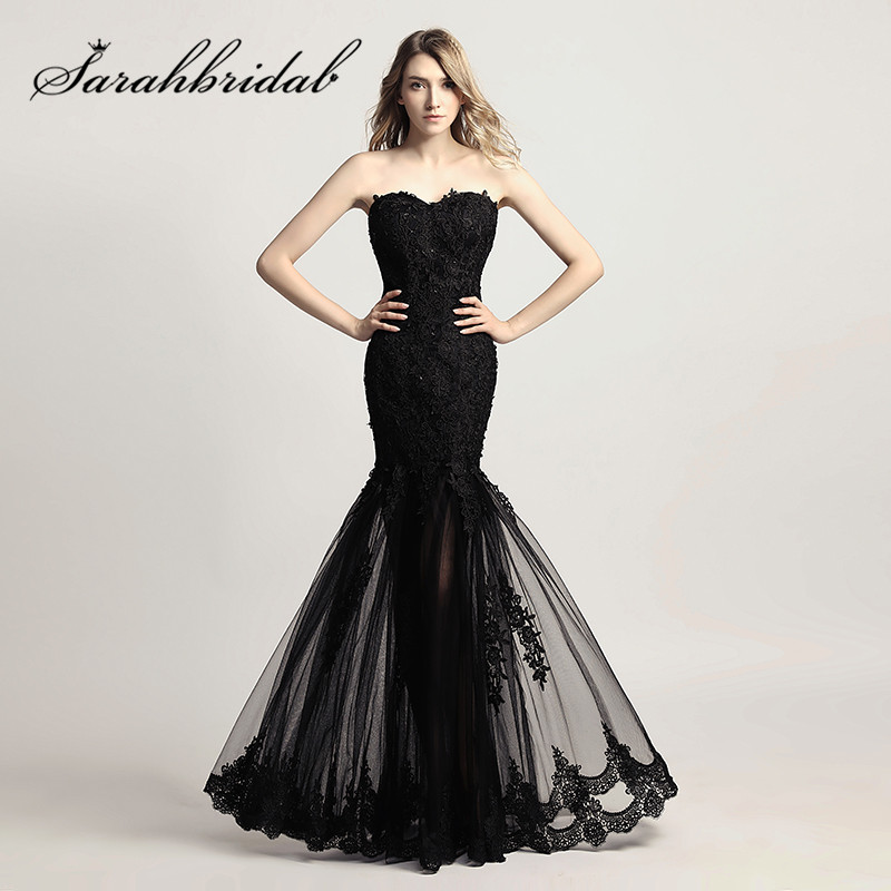 Black Mermaid Prom Dresses Long Cheap Real Photos Sexy Sweetheart Lace Applique Sheer Skirt Party Evening Gowns CF310