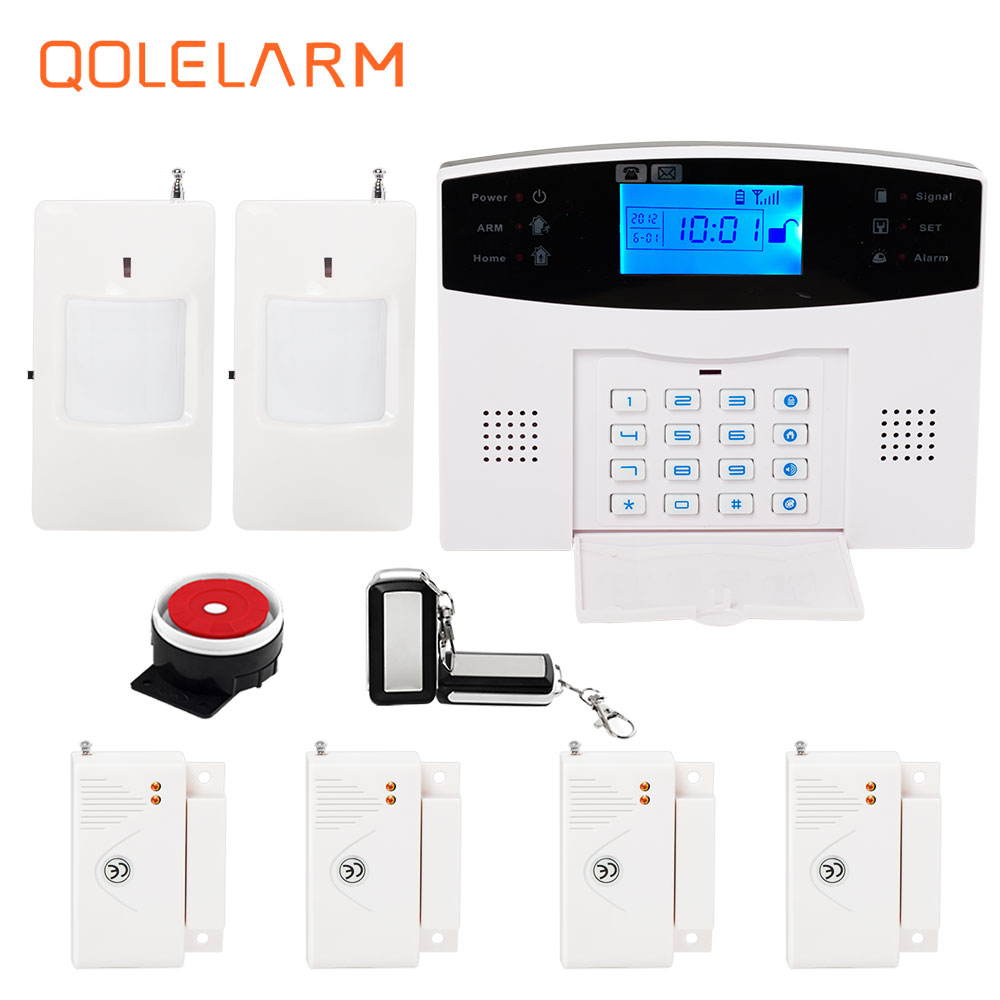 Russian/French/Spanish voice 433 MHz Wireless quad band GSM alarm systems home security telephone sms remote control kit spanish french russian voice 433 mhz new arrivel 433mhz remote control wireless gsm sms call home security gsm alarm system