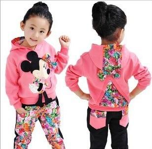 2018 Продаж Новий Безкоштовна доставка Осінь Моделі дівчаток Мультфільм Мікі костюм дитячий одяг у двох великих квітка барвисті дитячі костюми