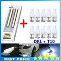 Продвижение 1 пара DRL + 10 шт. T10 Свет Автомобиля 5 SMD Лампы автомобиля Боковой Светодиодные 194 168 W5W Клин Лампы Дневного Света авто