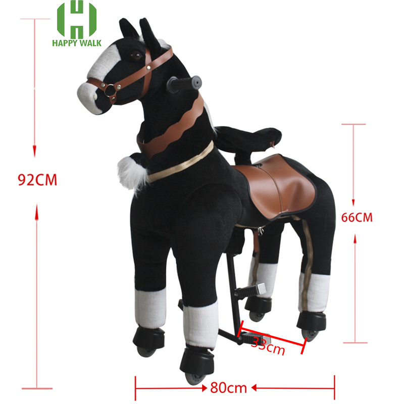 M Size Black Ride on Horse Plush Toy for Kids Mechanical Animal Ride Cavalos Brinquedos Horse Walking Scooter Children's Gift
