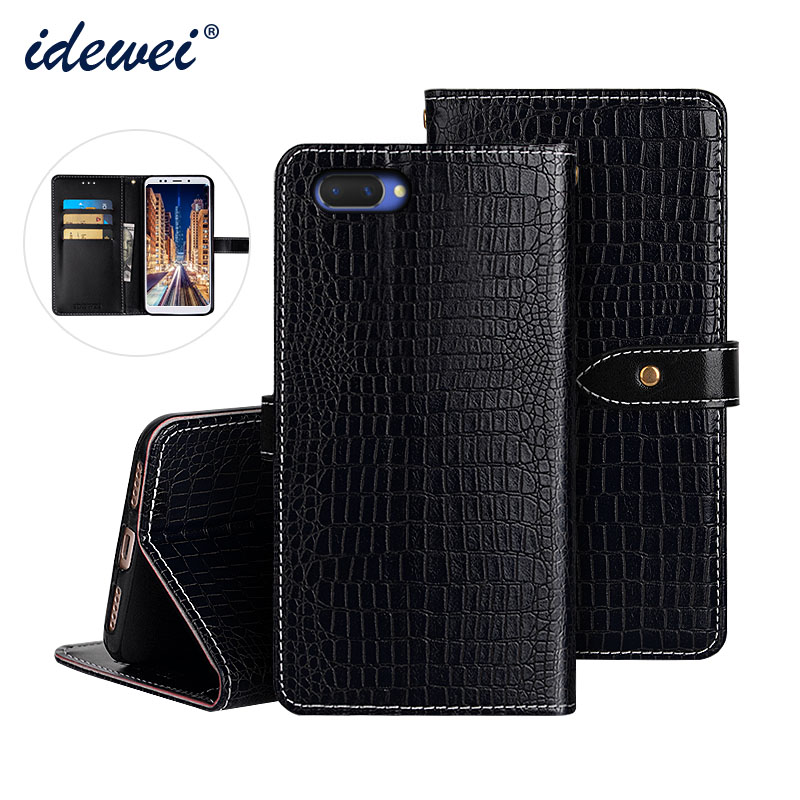 OPPO A3S Case Cover Luxury Leather Flip Case For OPPO A5 Protective Phone Case Crocodile Grain 6.2