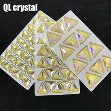 QL Crystal Color AB triangle Sew on for  wedding dress clothes shose bags garment decoration