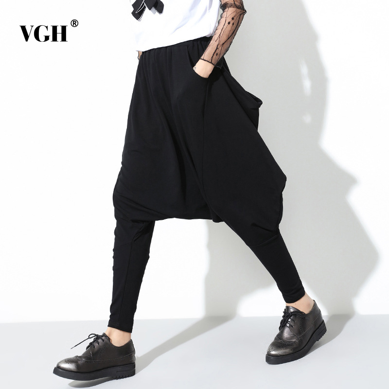 VGH Black Harem Pants Zipper Trousers For Women High Elastic Waist Loose Big Size Irregular Full Length England Style Fashion