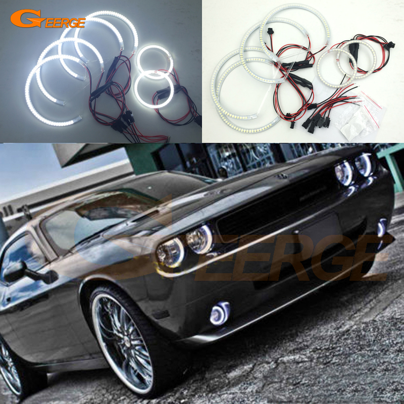 For Dodge Challenger 2008 2009 2010 2011 2012 2013 2014 Excellent 6 pcs smd led Angel Eyes kit Super bright led led Angel Eyes window rain deflector visor super 4pcs set vent shade sun guard shield for infiniti fx 35 37 50 2009 2010 2011 2012 2013