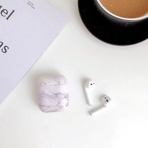 Image 3 - Caso do fone de ouvido para airpods 2 caso luxo mármore duro pc capa protetora fone de ouvido caixa de carregamento para apple airpods saco acessórios