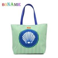 BONAMIE Brand Design Women Tote Handbag Girl Stripe Beach Bag Female Fashion Shell Pattern Shoulder Bag