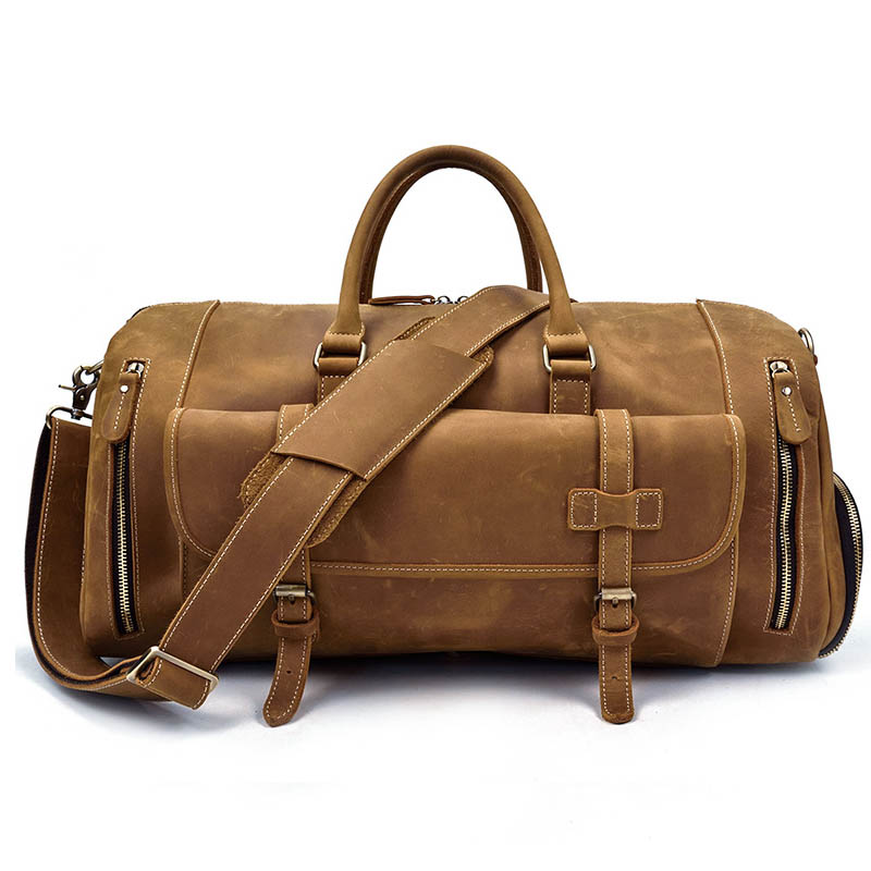 Crazy Horse Genuine Leather Travel Bag Men Vintage Travel Duffel bag big Cow Leather Carry On Luggage Weekend large shoulder Bag crazy horse genuine leather men travel bag large handbag vintage duffel bag men messenger shoulder bag tote luggage bag