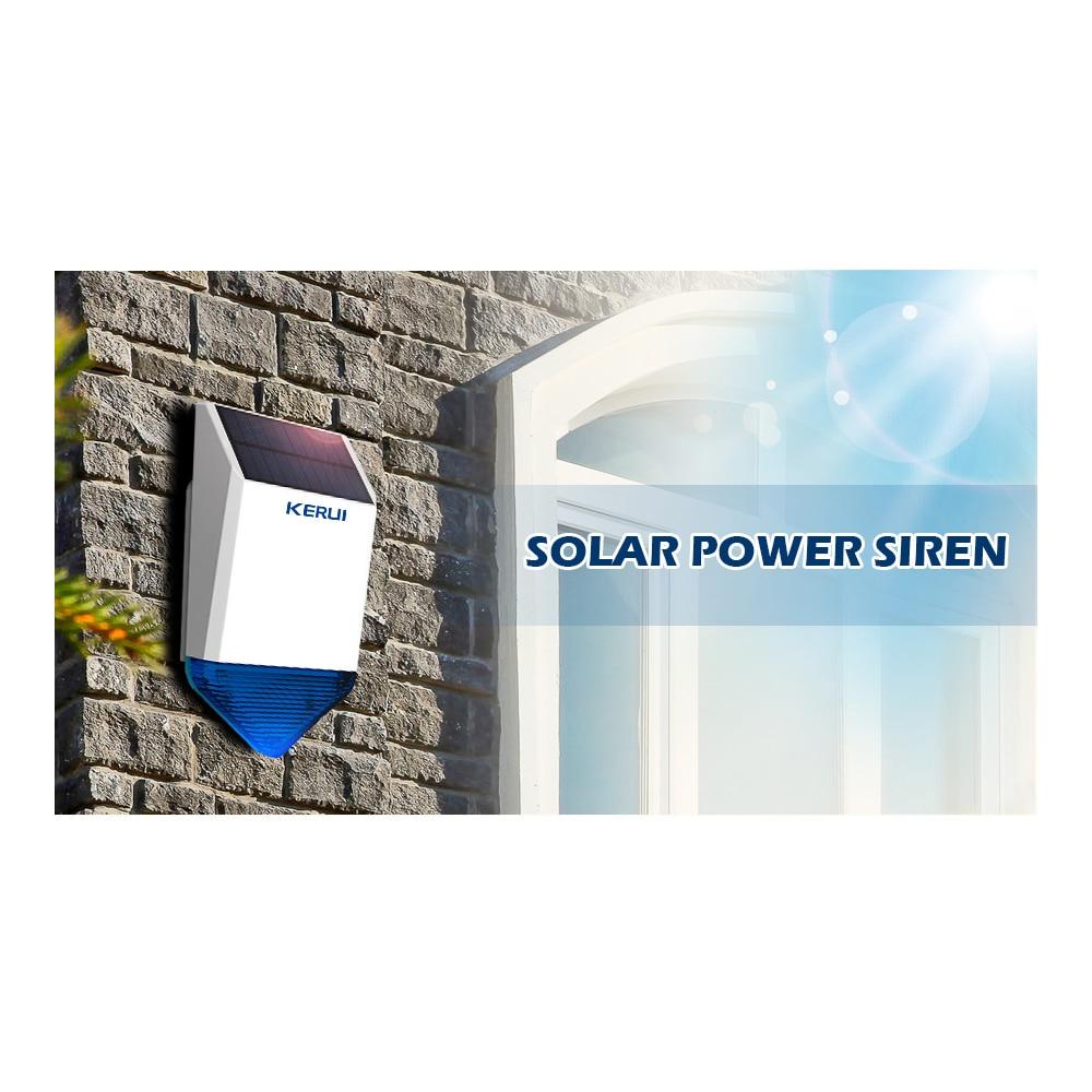 KERUI nuevo Flash inalámbrico estroboscópico al aire libre sirena a prueba de agua Alarma inalámbrica GSM sistema de Alarma de seguridad para el hogar carga de energía - 4